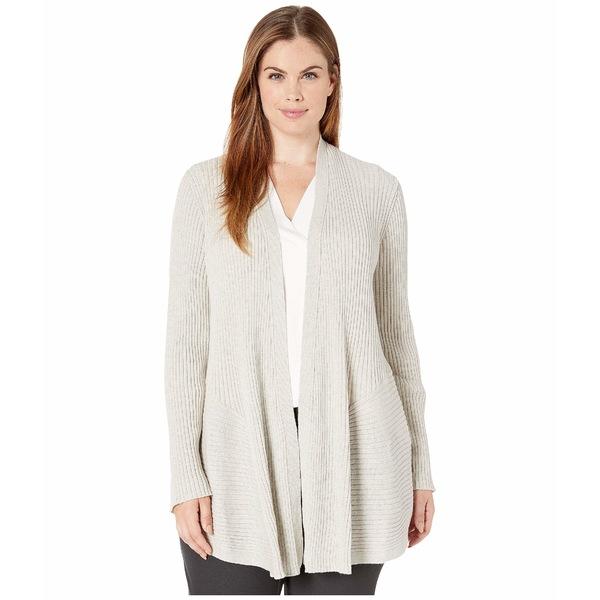 エイリーンフィッシャー レディース ニット&セーター アウター Plus Size Washable Wool Rib Long Cardigan Sea Salt