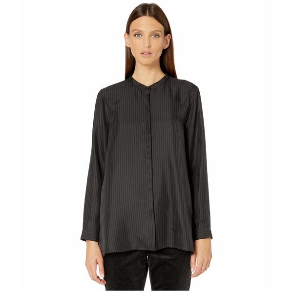 エイリーンフィッシャー レディース シャツ トップス Silk Twill Mandarin Collar Shirt Black/Charcoal