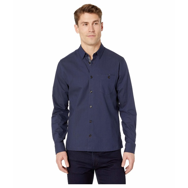 テッドベーカー メンズ シャツ トップス Oxfords Long Sleeve Twill Overshirt Navy