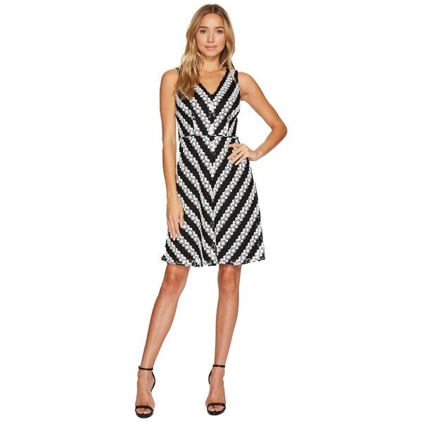 アドリアナ パペル レディース ワンピース トップス Striped Fit and Flare Lace Dress Black/Ivory