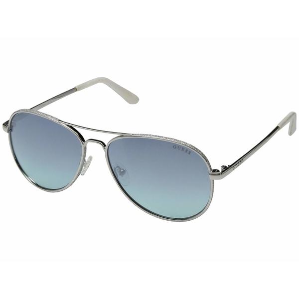 ゲス レディース サングラス&アイウェア アクセサリー GU7555 Shiny Light Nickeltin/Blue Mirror