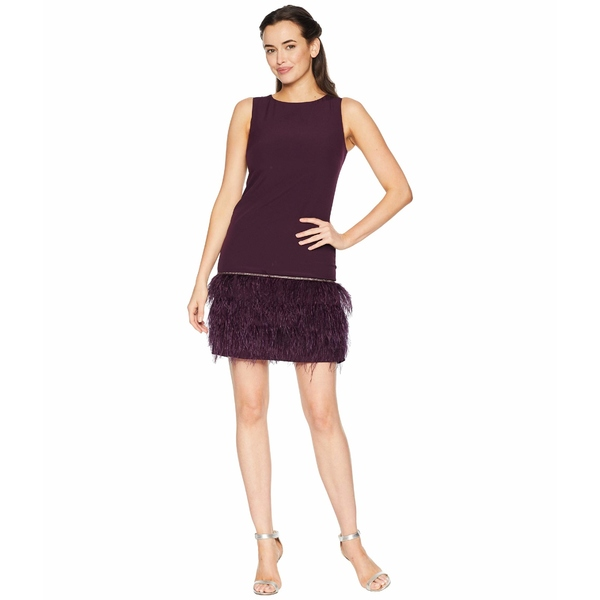 タハリ レディース ワンピース トップス Sleeveless Crepe Sheath with Ostrich Feather Trim Aubergine