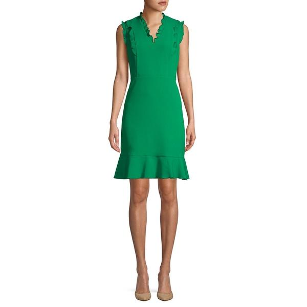 カールラガーフェルド レディース ワンピース トップス Ruffled V-Neck Fit-&-Flare Dress Pepper Green
