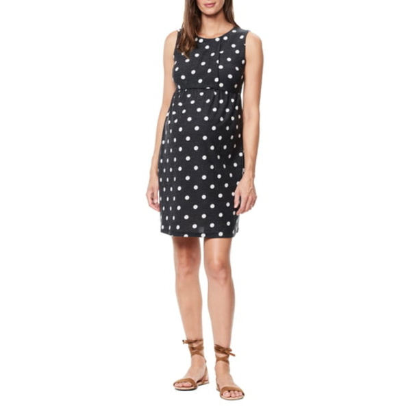 マターナルアメリカ レディース ワンピース トップス Pleated Bodice Jersey Maternity Dress White Polka Dot