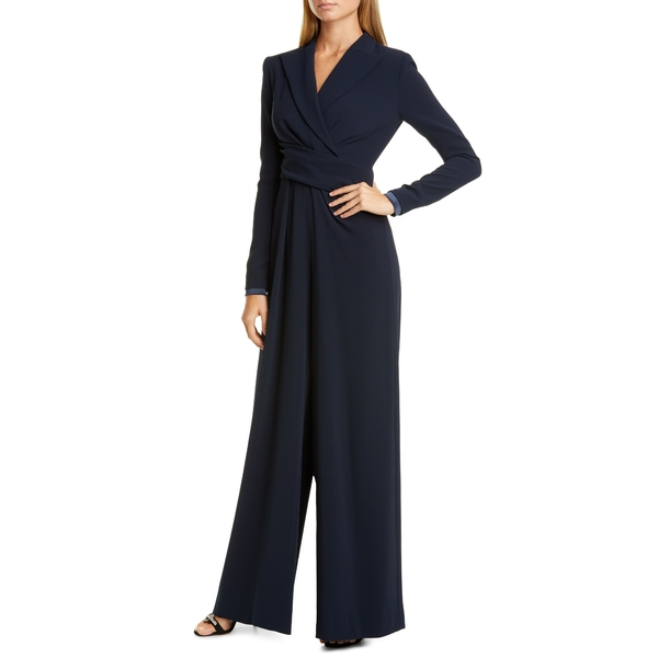 タルボールホフ レディース ワンピース トップス Talbut Runhof Stretch Crepe Long Wide Leg Sleeve Jumpsuit Midnight