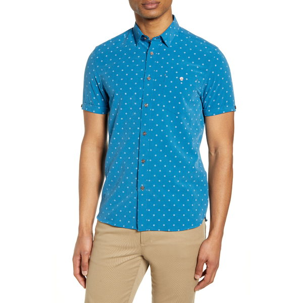 テッドベーカー メンズ シャツ トップス Slim Fit No Chip Short Sleeve Button-Up Shirt Mid Blue