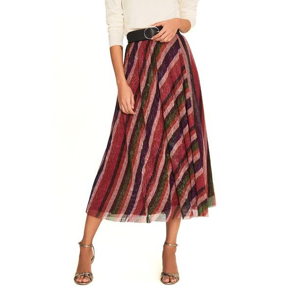 バッシュ レディース スカート ボトムス Midnight Metallic Stripe Asymmetrical Midi Skirt Bougainvillea