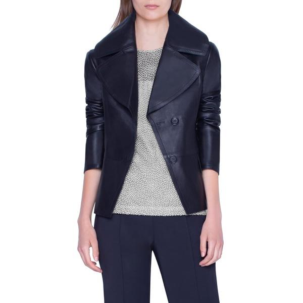 アクリス レディース ジャケット&ブルゾン アウター Exaggerated Lapels Leather Jacket Black