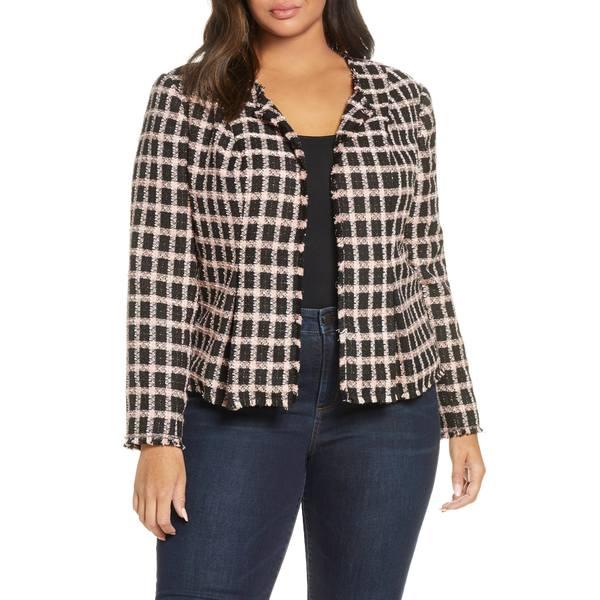 セセ レディース ジャケット&ブルゾン アウター Grid Tweed Frayed Jacket Rich Black