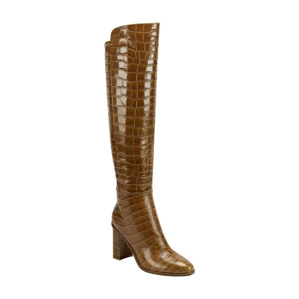 マーク・フィッシャー レディース ブーツ&レインブーツ シューズ Unella Knee High Boot Brown Croco Embossed Leather