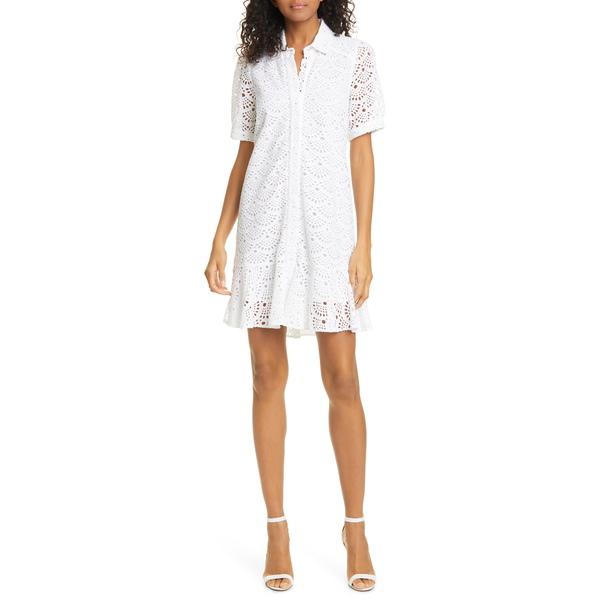 タニアテイラー レディース ワンピース トップス Aliciana Short Sleeve Cotton Eyelet Shirtdress White