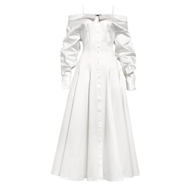 ブランドン・マクスウェル レディース ワンピース トップス Cold Shoulder Long Sleeve Cotton Midi Shirtdress White