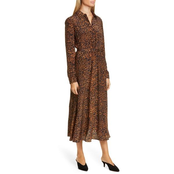 ラファイエットワンフォーエイト レディース ワンピース トップス Brittany Leopard Print Long Sleeve Silk Shirtdress Teak Multi