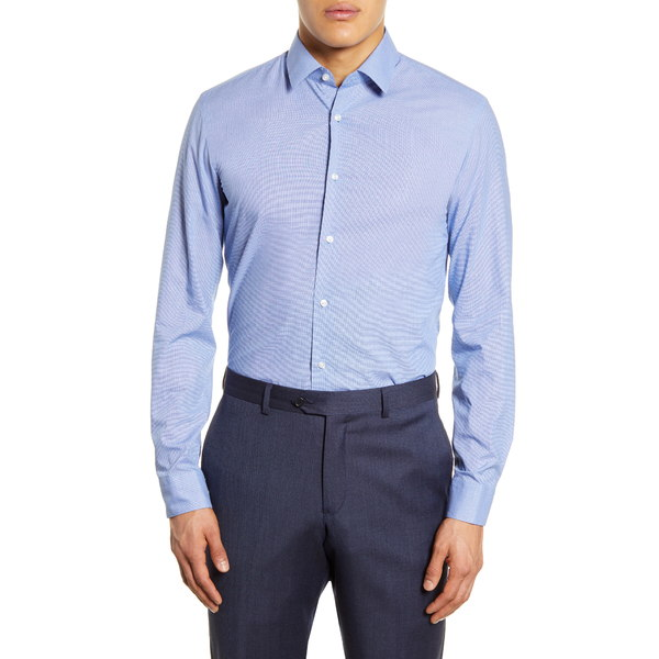 ボス メンズ シャツ トップス Slim Fit Solid Dress Shirt Blue