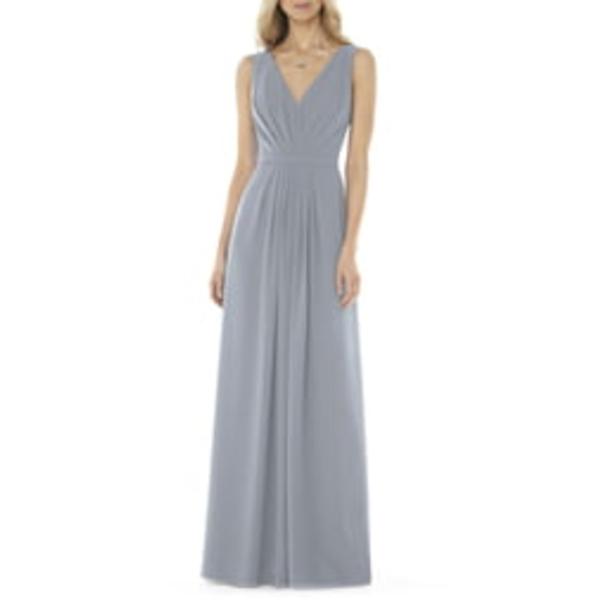 ソーシャルブライドメイド レディース ワンピース トップス V-Neck Georgette A-Line Gown Platinum