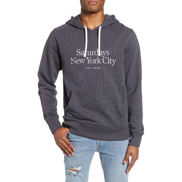 サタデイズニューヨーク メンズ シャツ トップス Saturdays Standard Embroidered Logo Hooded Sweatshirt Cool Grey