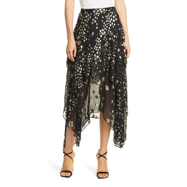 ラブスハックファンシー レディース スカート ボトムス Metallic Star Print Silk Blend Skirt Black