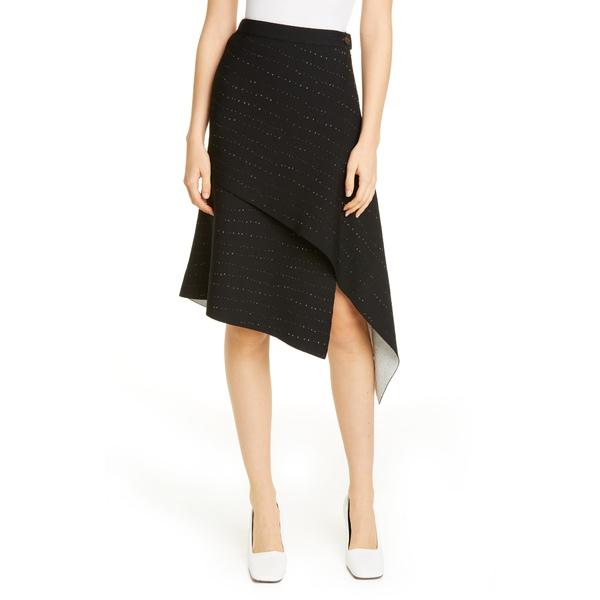 プロエンザショラー レディース スカート ボトムス Pointelle Knit Asymmetrical Skirt Black/ Off White