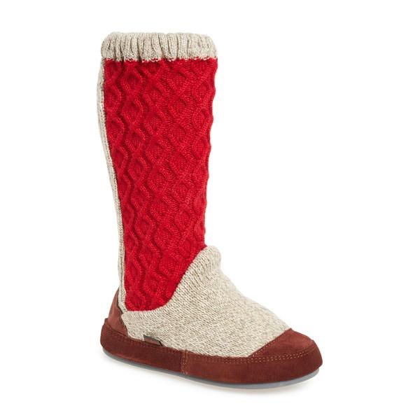 エイコーン レディース ブーツ&レインブーツ シューズ Slouch Slipper Boot Red Cable Fabric