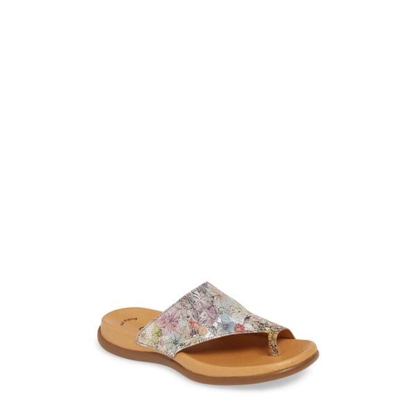 ガボール レディース サンダル シューズ Slide Sandal Flower Print Leather