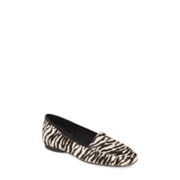 ドナルドプリネール レディース サンダル シューズ Deedee Apron Toe Genuine Calf Hair Flat Zebra Print Calf Hair
