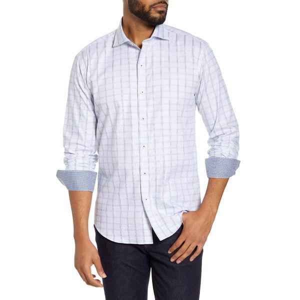 ブガッチ メンズ シャツ トップス Shaped Fit Windowpane Button-Up Shirt White