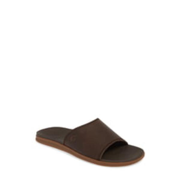 オルカイ メンズ サンダル シューズ Alania Slide Sandal Dark Wood Leather