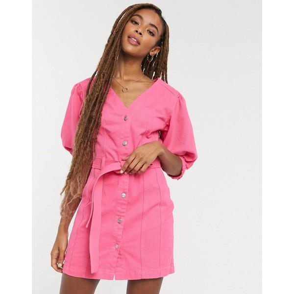 エイソス レディース トップス ワンピース Pink 激安 激安特価 送料無料 全商品無料サイズ交換 ASOS DESIGN stitch dress 出色 bright multi pink denim belted in