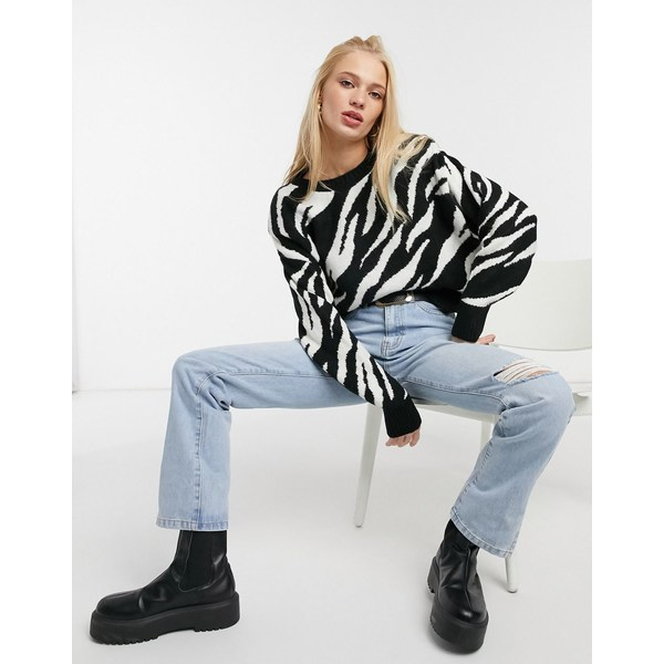 black マンゴ Black ニット&セーター アウター zebra sweater レディース in Mango