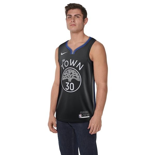 ナイキ メンズ フィットネス スポーツ NBA City Edition Swingman Jersey NBA   Golden State Warriors   Stephen Curry   Black/Dark Grey/Rush Blue