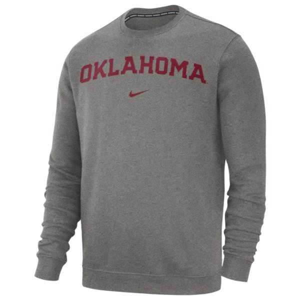 ナイキ メンズ フィットネス スポーツ College Club Fleece Crew NCAA | Oklahoma Sooners | Dark Grey Heather