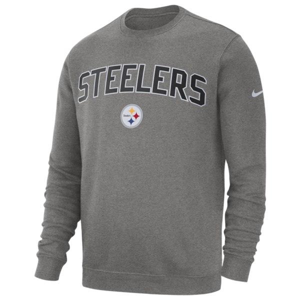 ナイキ メンズ フィットネス スポーツ NFL Club Fleece Crew Pullover NFL | Pittsburgh Steelers | Dark Grey Heather