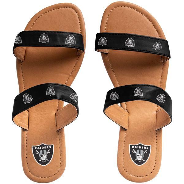 フォコ レディース サンダル シューズ Las Vegas Raiders Women's Double Strap Sandals