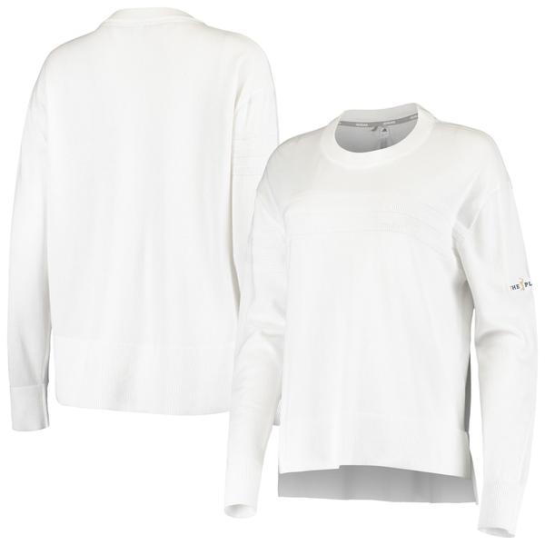 アディダス レディース シャツ トップス THE PLAYERS adidas Women's 3 Stripe Sweater White