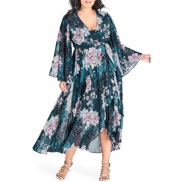 シティーシック レディース ワンピース トップス City Chic Jade Blossom Wrap Maxi Dress (Plus Size) Jade Blossom