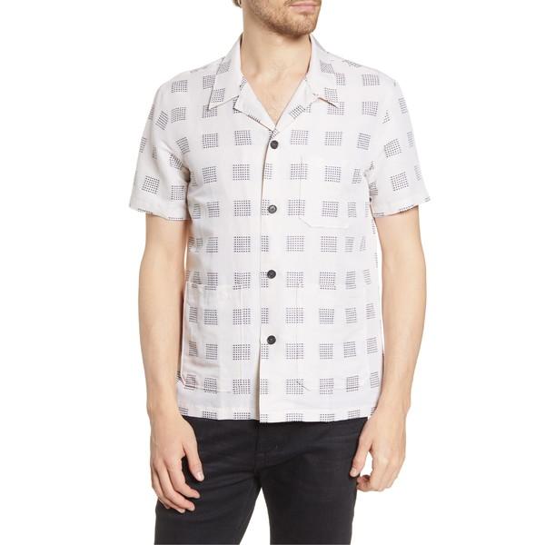 ビリーレイド メンズ シャツ トップス Billy Reid Regular Fit Short Sleeve Linen Blend Button-Up Shirt Natural/ Black