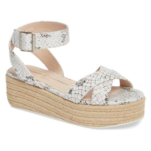 チャイニーズランドリー レディース サンダル シューズ Chinese Laundry Zala Espadrille Platform Sandal (Women) White/ Silver