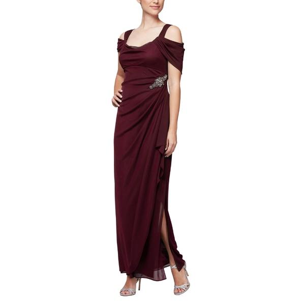 アレックスイブニングス レディース ワンピース トップス Alex Evenings Embellished Cold Shoulder Gown Wine
