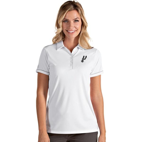 ランキングTOP5 Antigua レディース トップス ポロシャツ White Silver 全商品無料サイズ交換 アンティグア Polo San 驚きの価格が実現 Shirt Women's Salute Antonio Spurs
