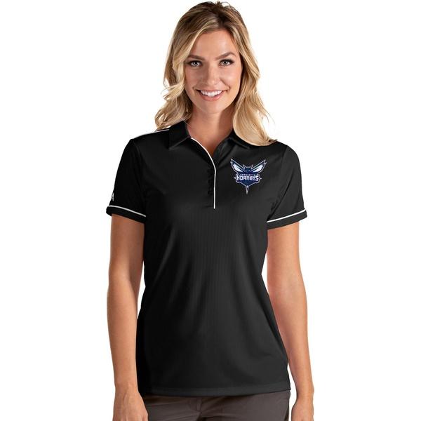 お金を節約 Antigua レディース トップス ポロシャツ Black White 全商品無料サイズ交換 Polo Women's アンティグア 大特価!! Charlotte Shirt Salute Hornets