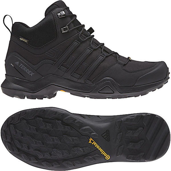 アディダス メンズ ハイキング スポーツ Adidas Men's Terrex Swift R2 Mid GTX Shoe Black / Black / Black