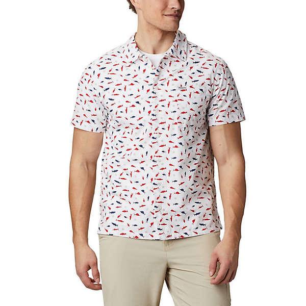 コロンビア メンズ シャツ トップス Columbia Men's Trollers Best SS Shirt White Americana Print