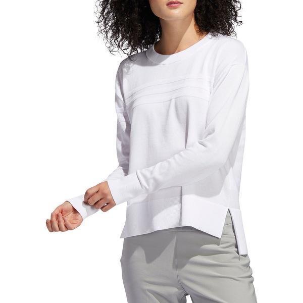 アディダス レディース シャツ トップス adidas Women's 3-Stripes Golf Sweater White