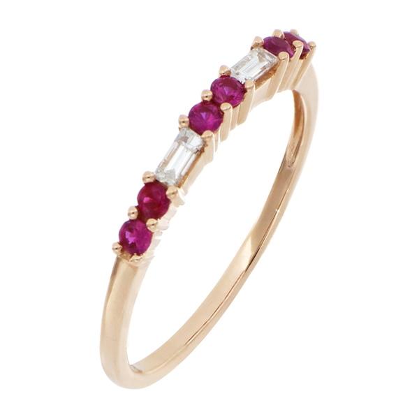 ボニー オンラインショッピング レヴィ レディース アクセサリー リング 18KR 全商品無料サイズ交換 El Mar 18K Gold Ruby Diamond Prong Ring Set 希望者のみラッピング無料 Rose Cut Baguette Round