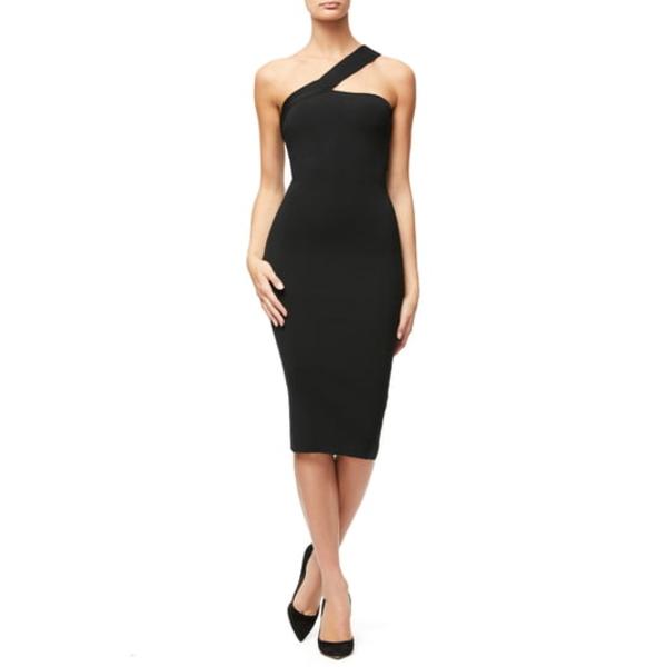 グッドアメリカン レディース ワンピース トップス Asymmetrical Ribbed Body-Con Dress Black001
