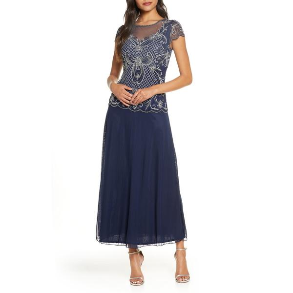 ピサッロナイツ レディース ワンピース トップス Mock Two-Piece Beaded Bodice Evening Dress Navy