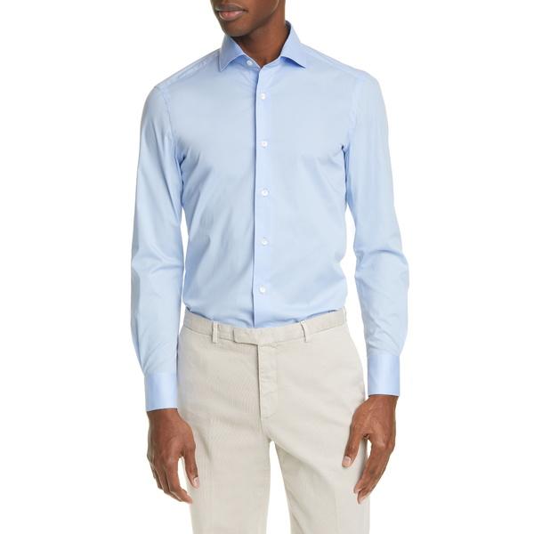 ボリオリ メンズ シャツ トップス Trim Fit Stretch Cotton Button-Up Shirt Blue