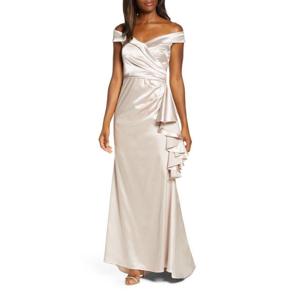 エリザジェイ レディース ワンピース トップス Portrait Collar Satin Gown Champagne