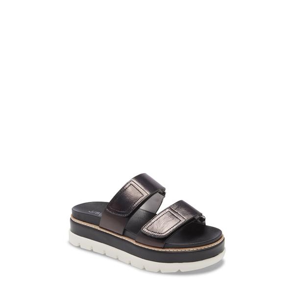 ジェースライズ レディース サンダル シューズ Betsey Platform Slide Sandal Black Leather