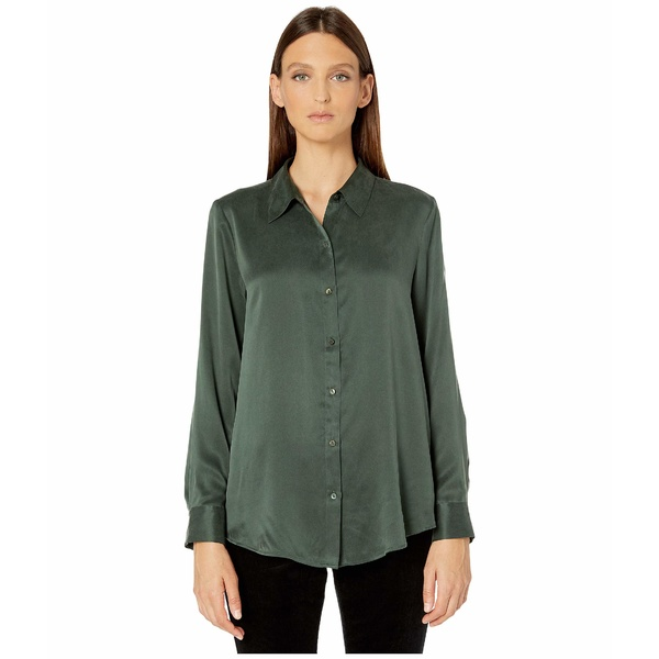 エイリーンフィッシャー レディース シャツ トップス Sandwashed Silk Charmeuse Classic Collar Shirt Deep Hemlock